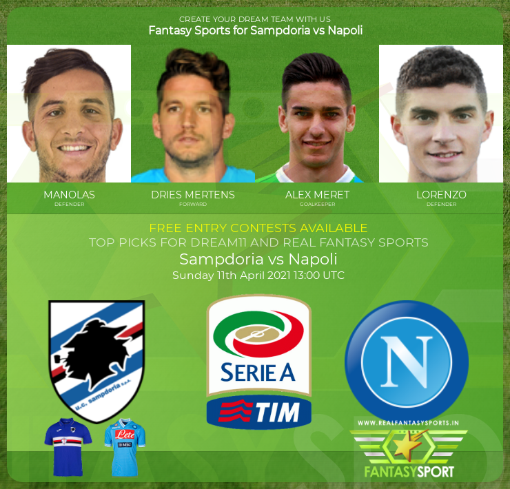 Football Fantasy Team Sampdoria Vs Napoli