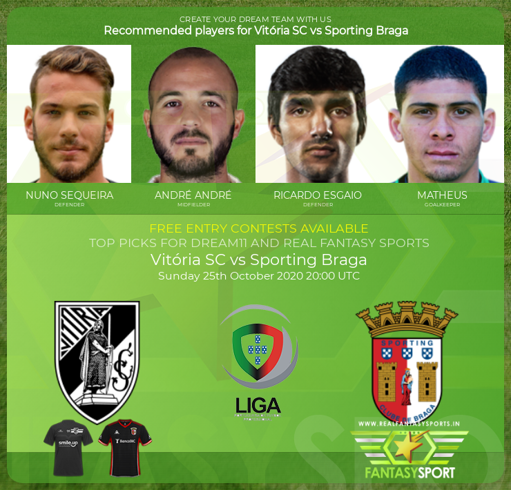 Vitória SC vs Sporting Braga dream11 team prediction (25th October 2020)