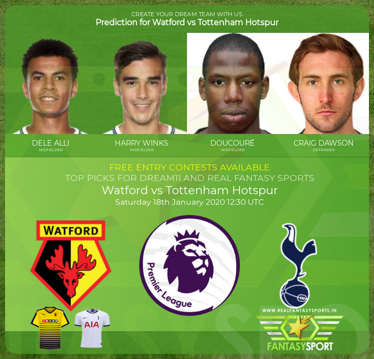 Football Fantasy Team Watford Vs Tottenham Hotspur