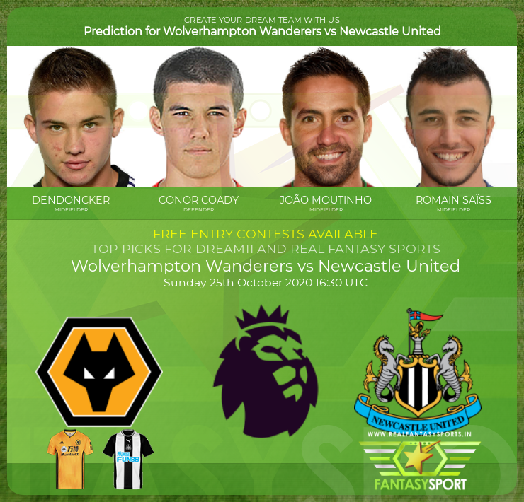 Wolverhampton Wanderers vs Newcastle United dream team prediction (25th October 2020)