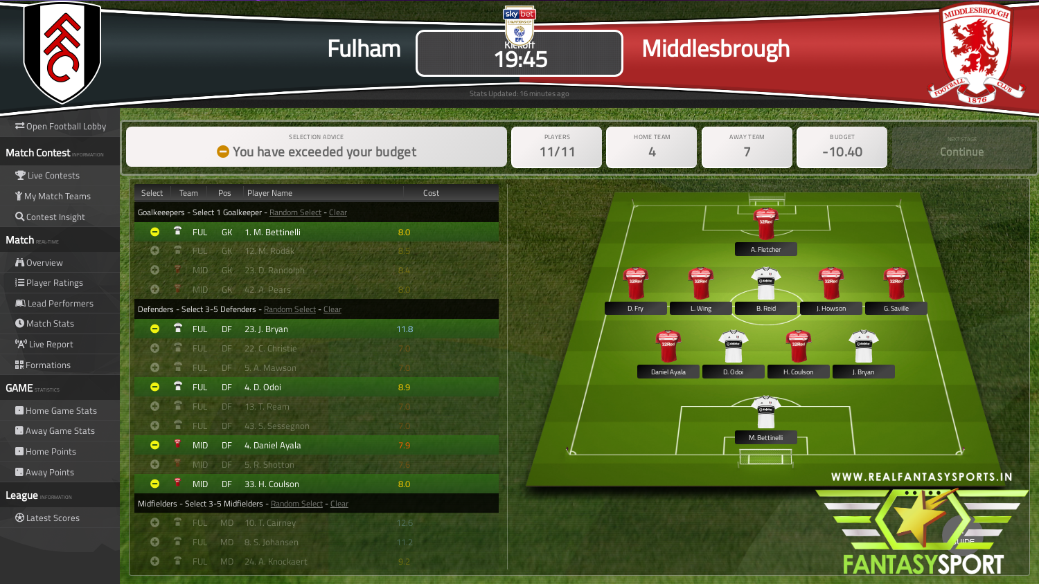 Fulham Vs Middlesbrough Fantasy Football Team