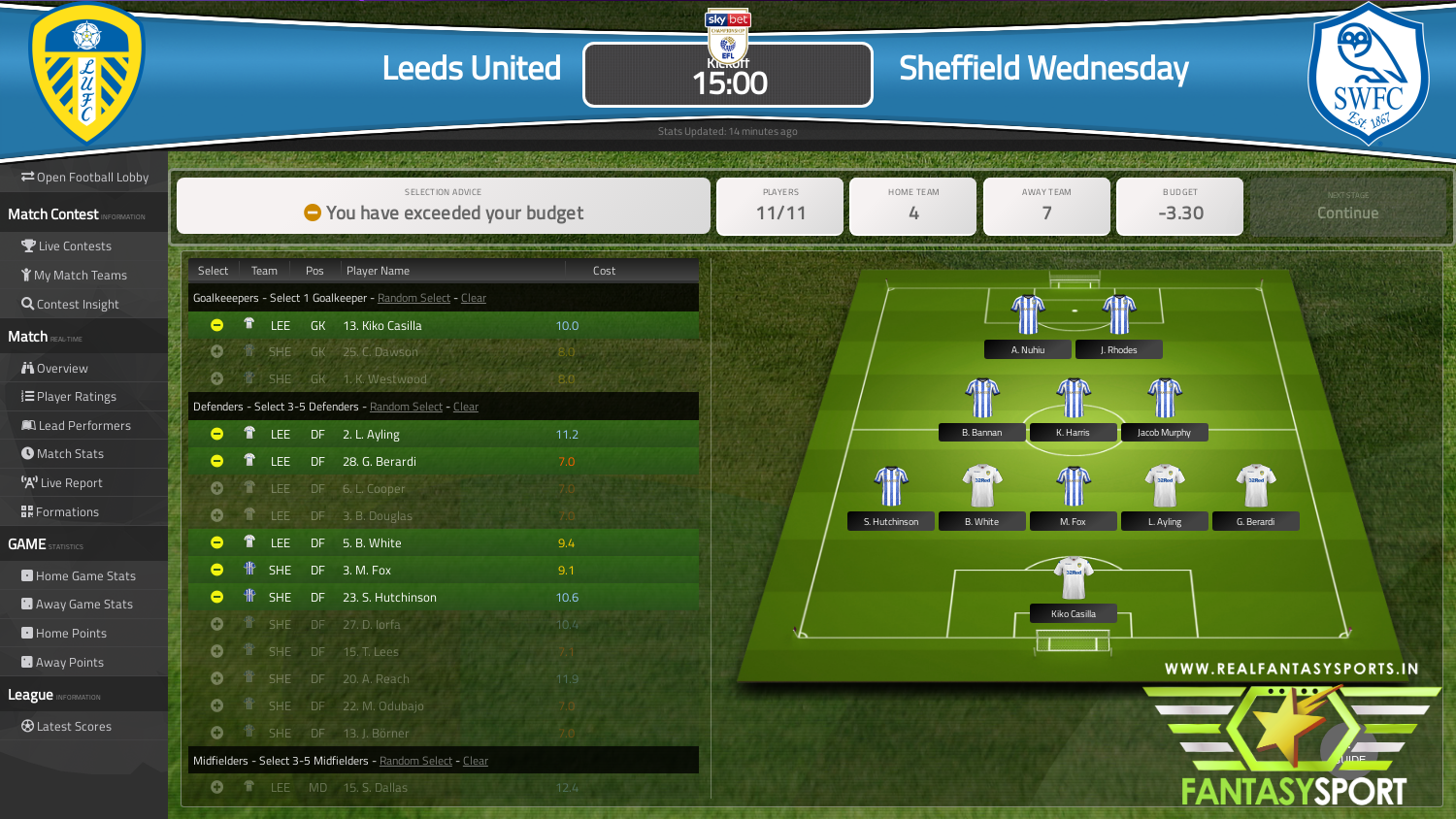 Leeds United Vs Sheffield Wednesday Dream11 Selection 11th