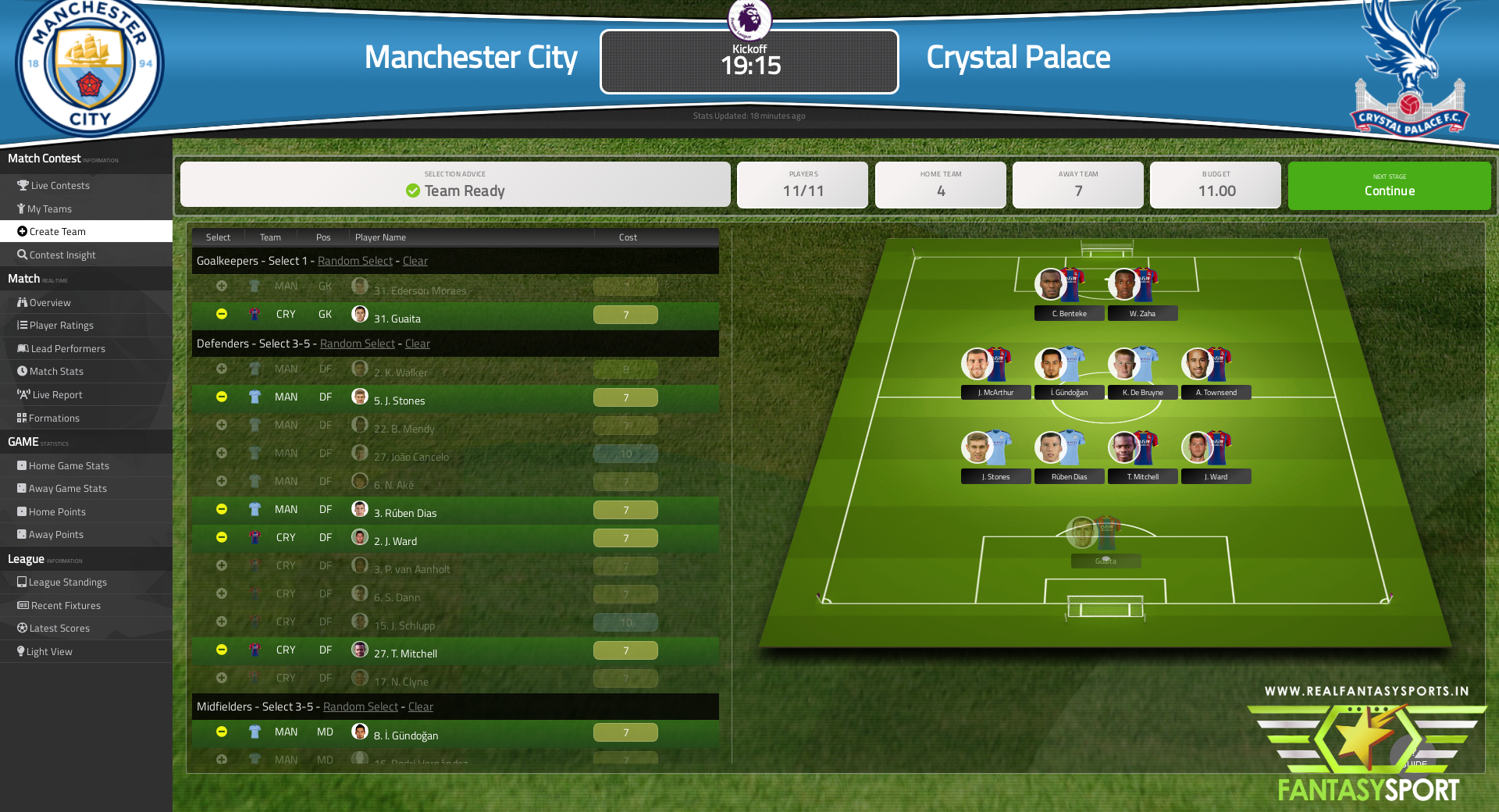 Manchester City vs Crystal Palace dream team prediction (17th January 2021)