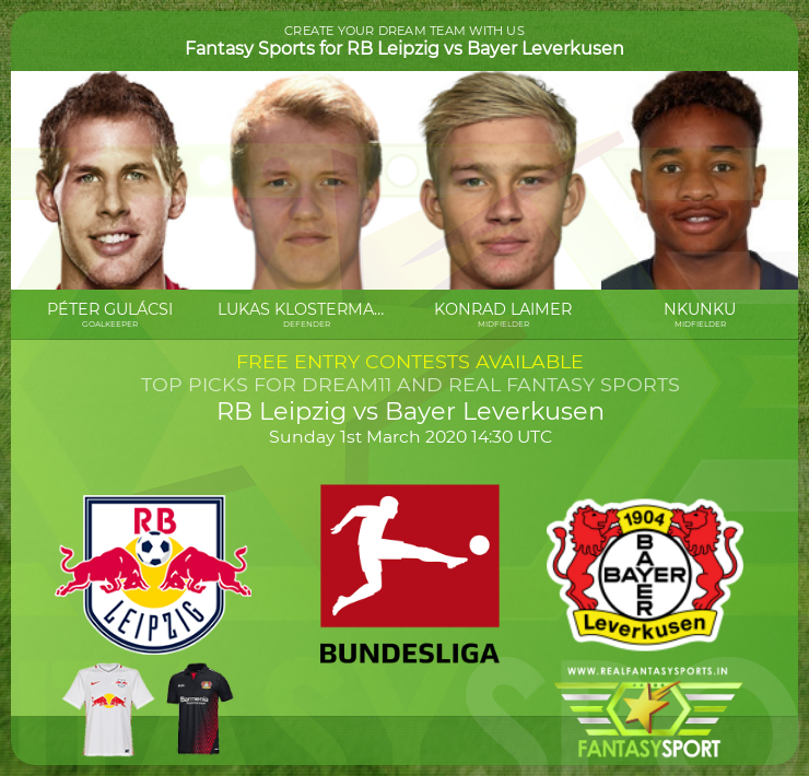RB Leipzig vs Bayer Leverkusen dream11 team prediction (1st March 2020)