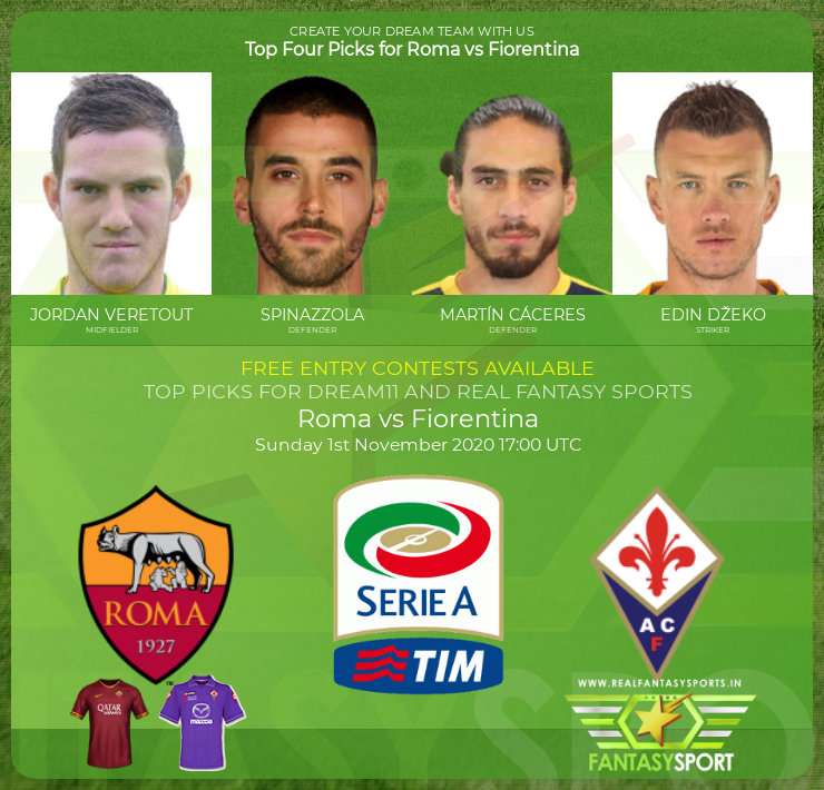Roma vs Fiorentina dream11 team prediction (1st November 2020)