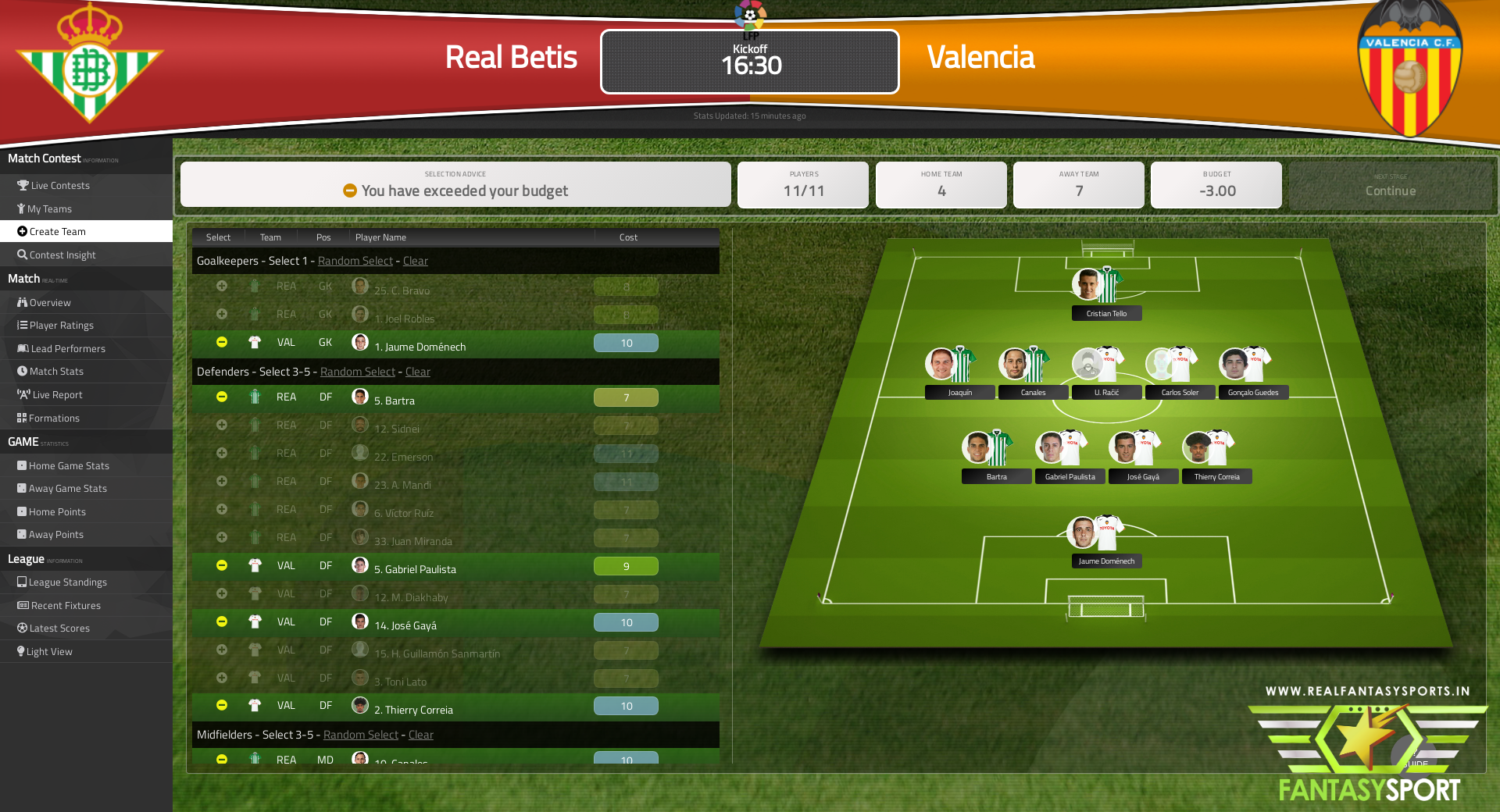 Real Betis Vs Valencia Fantasy Football Team