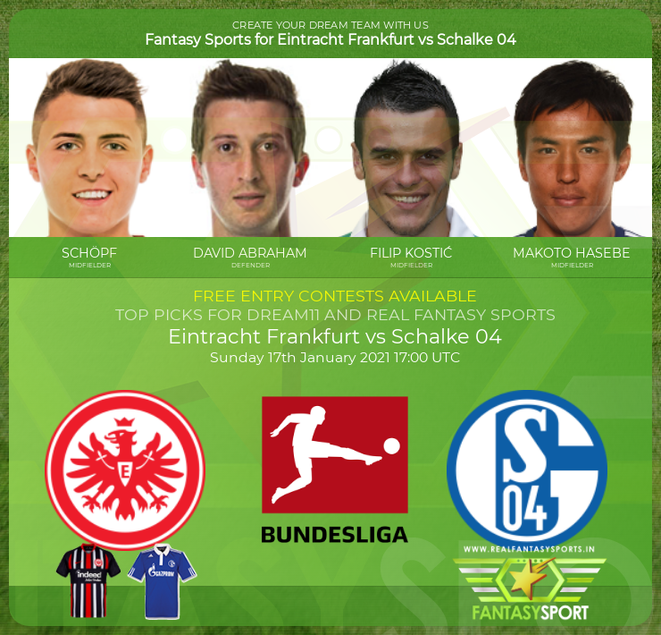 Eintracht Frankfurt vs Schalke 04 dream11 team prediction (17th January 2021)