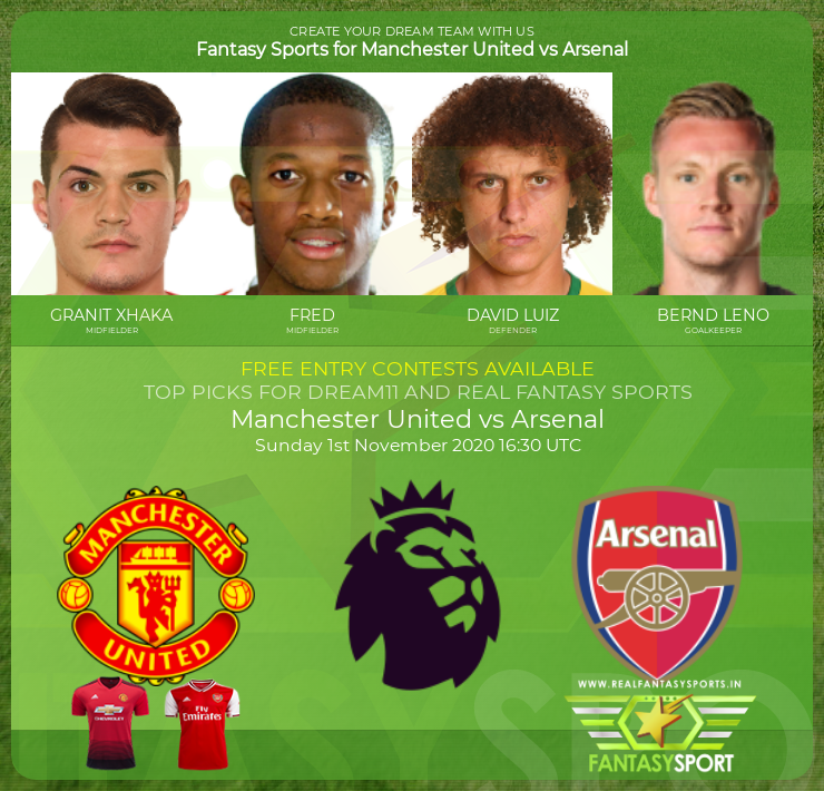 Manchester United vs Arsenal dream team prediction (1st November 2020)