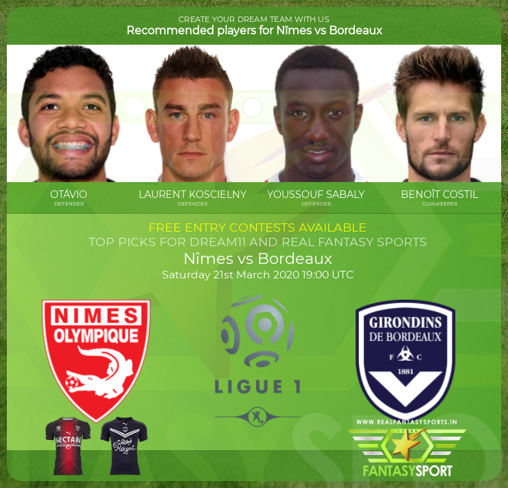 Nîmes vs Bordeaux dream team prediction (21st March 2020)