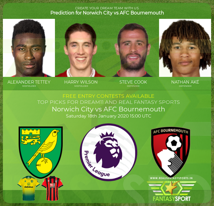 Norwich City vs AFC Bournemouth prediction preview (18th January 2020)