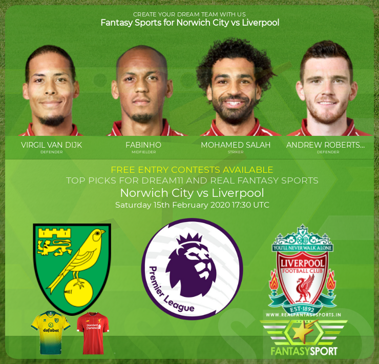 Recommended Players Norwich City Vs Liverpool