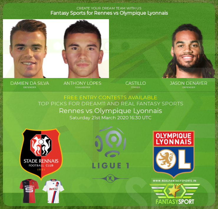 Rennes vs Olympique Lyonnais prediction (21st March 2020)