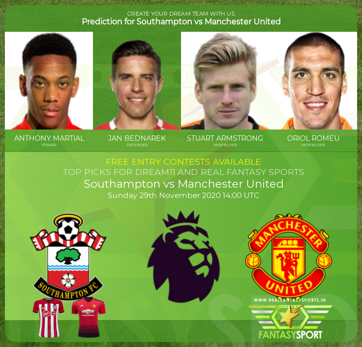 Recommended Players Southampton Vs Manchester United