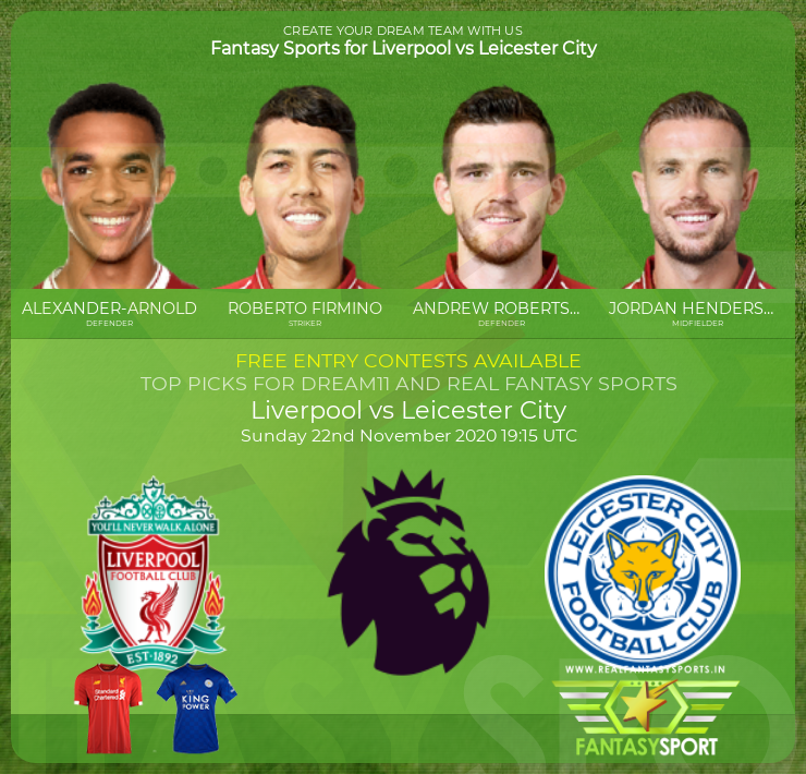 Liverpool vs Leicester City match prediction (22nd November 2020)