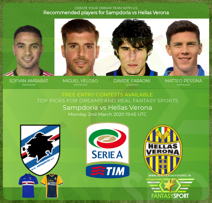 Sampdoria vs Hellas Verona dream11 team prediction (2nd March 2020)