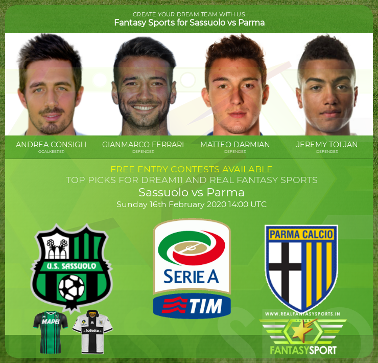 Sassuolo Vs Parma Dream Team Prediction 16th February 2020