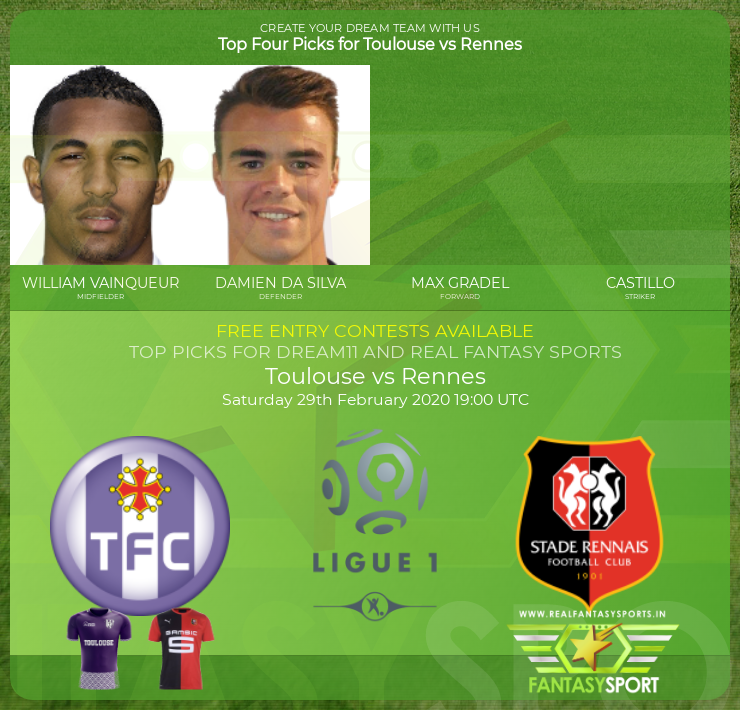 Toulouse vs Rennes dream11 team prediction (29th February 2020)