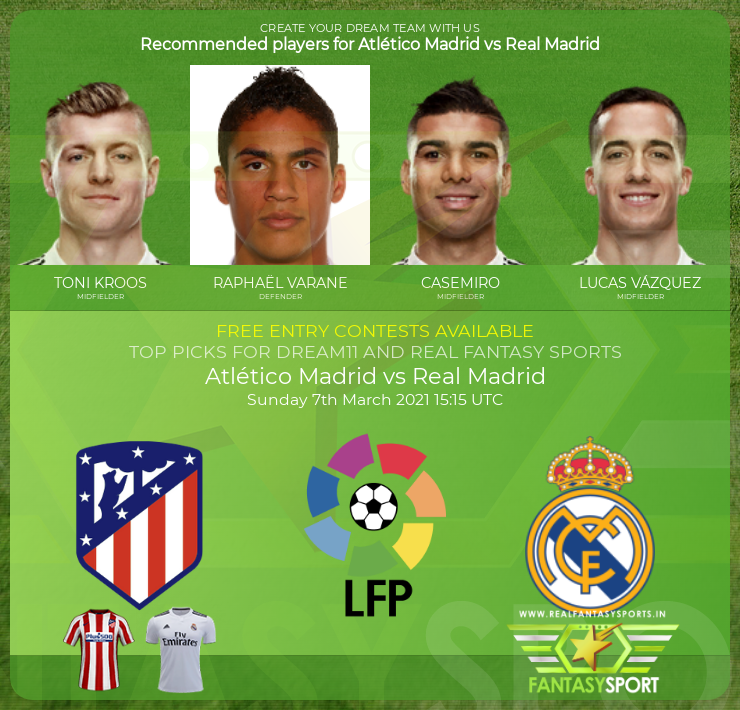 Atlético Madrid vs Real Madrid dream11 prediction (7th March 2021)