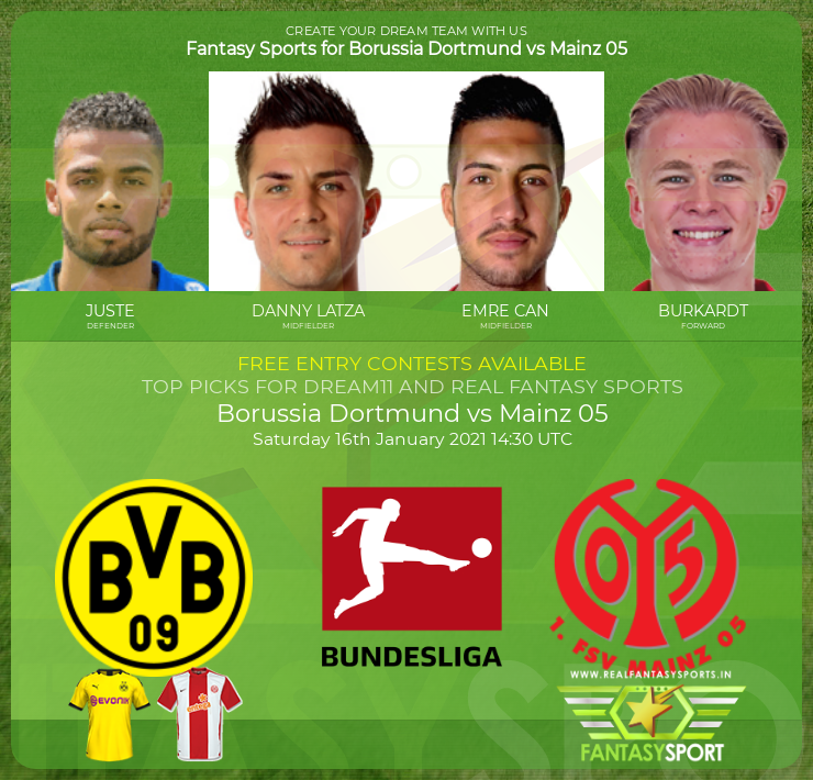 Borussia Dortmund vs Mainz 05 dream team prediction (16th January 2021)