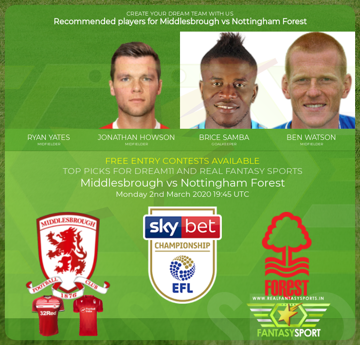 Middlesbrough vs Nottingham Forest game prediction (2nd March 2020)