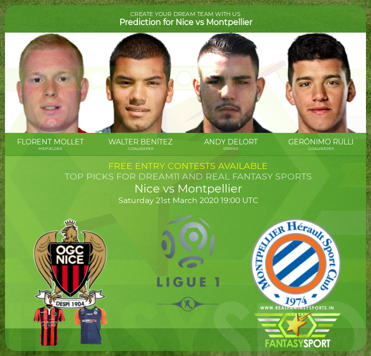 Nice vs Montpellier dream11 team prediction (21st March 2020)