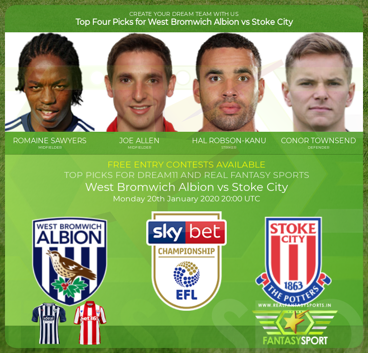 West Bromwich Albion vs Stoke City dream team prediction (20th January 2020)