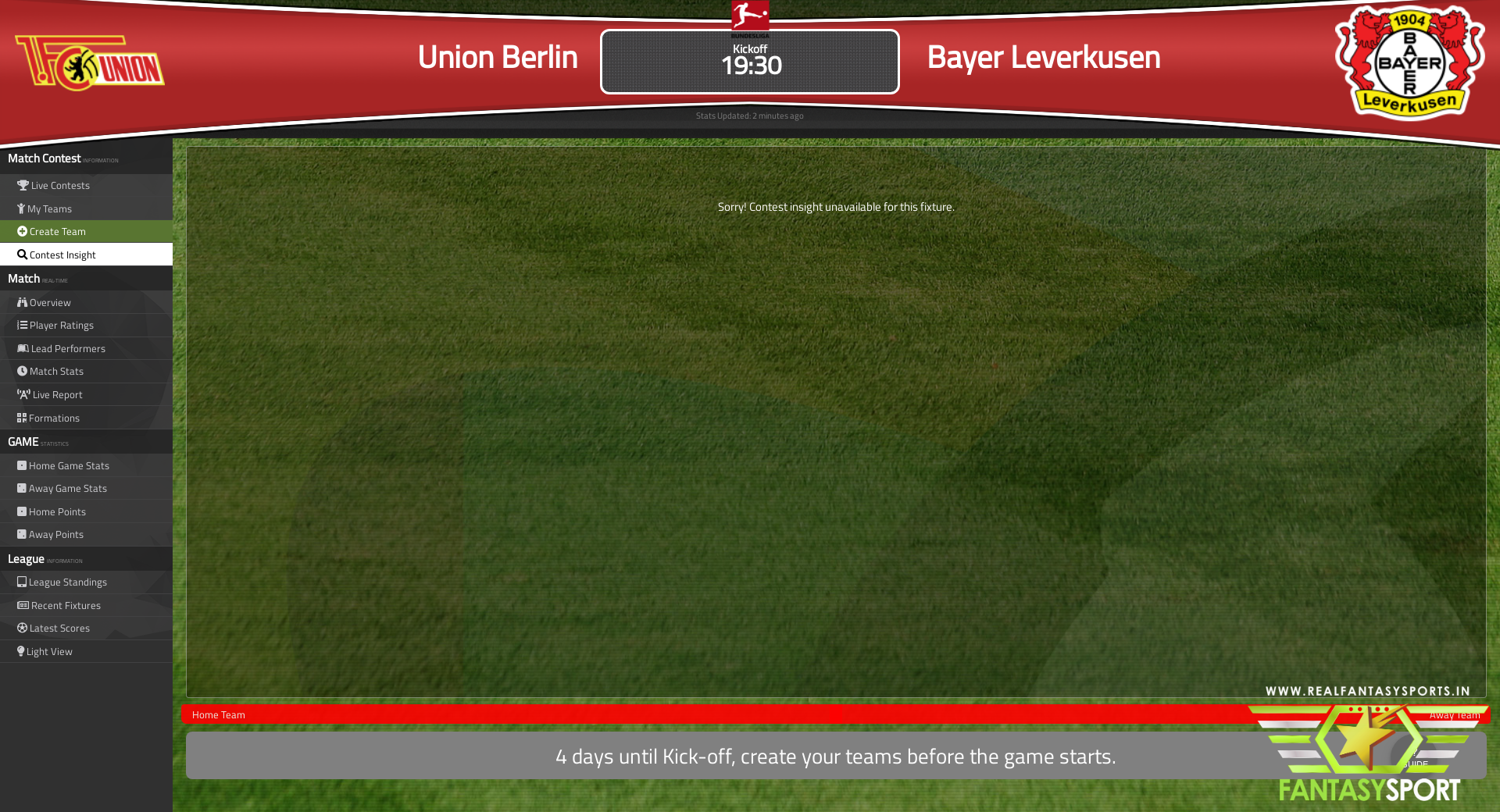 Union Berlin Vs Bayer Leverkusen Fantasy Football Team