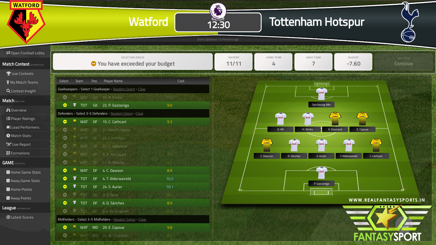 Watford Vs Tottenham Hotspur Fantasy Football Team